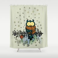 Owl In The Snow V2 Shower Curtain