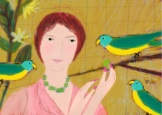 Woman with Parrots Art Print