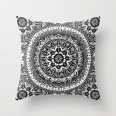 Black and White Mandala Pattern Throw Pillow