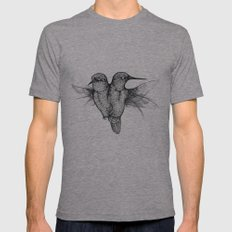 Conjoined Hummingbirds Mens Fitted Tee Athletic Grey SMALL