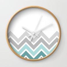 WHITE/ TEAL CHEVRON FADE Wall Clock
