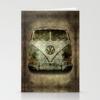 Classic VW  micro bus with battle scars and a distressed patina Stationery Cards
