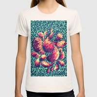 Peacock in the Garden Womens Fitted Tee Natural SMALL
