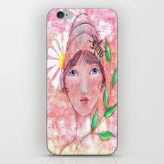 Whimiscal Girl with Bee Hive Hat iPhone & iPod Skin