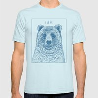 Bear (Ivory) Mens Fitted Tee Light Blue SMALL
