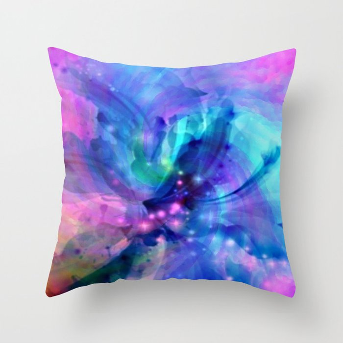 Blue and Pink Swirl Abstract Throw Pillow by Judy Palkimas Society6