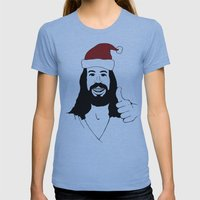 Merry Christmas Jesus Womens Fitted Tee Athletic Blue SMALL