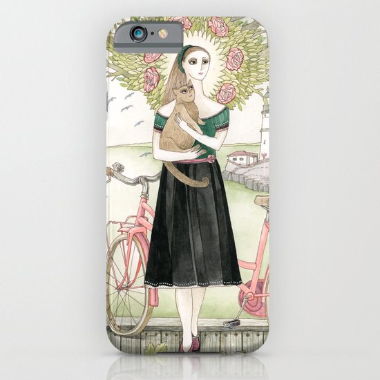 Girl and cat with pink bicycle iPhone & iPod Case