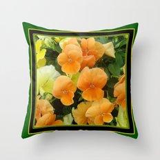 Green Art Design Apricot Colored Pansy Garden Throw Pillow