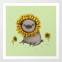 Pugflower Art Print