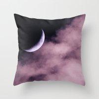 Crescent Moon On A Fluff… Throw Pillow