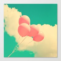 Happy Pink Balloons On R… Canvas Print