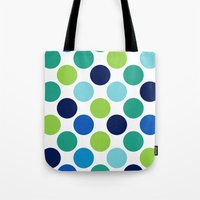 Big Loving Dots: Blue Multi Tote Bag