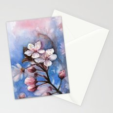 Cherry Blossoms Watercolor   Cherry Blossom Painting Stationery Cards