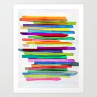 summer Art Prints featuring Colorful Stripes 1 by Mareike Böhmer Graphics and Photography