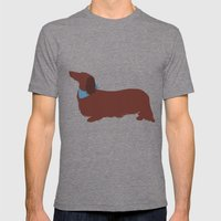 Long haired Dachshund Mens Fitted Tee Tri-Grey SMALL