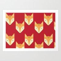 Mr. Fox Pattern Art Print