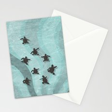 Loggerhead sea turtle hatchlings Stationery Cards