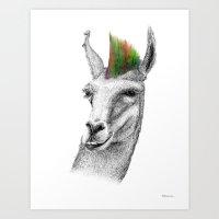 Llamahawk Art Print