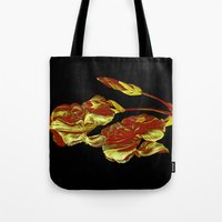 embroidered iris on black background Tote Bag