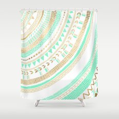 Mint + Gold Tribal Shower Curtain