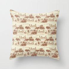 Toile de jouy Swan Throw Pillow