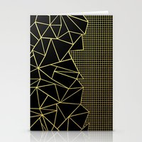 Ab Outline Grid Black and Gold Stationery Cards