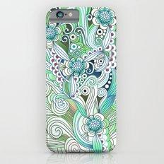 Zentangle Flower fire, green doodle Slim Case iPhone 6s