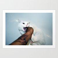 selfportrait with cat Art Print