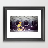 Bunny Laundry Tea Time Framed Art Print