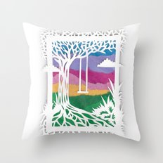 Sunset Swing Papercut Throw Pillow