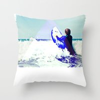 Surfing Devon Throw Pillow