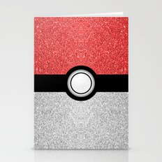 Sparkly red and silver sparkles poke ball Stationery Cards
