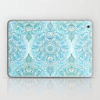 Turquoise Blue, Teal & White Protea Doodle Pattern Laptop & iPad Skin