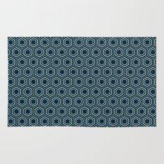 Hexagon Pattern in Blue Rug
