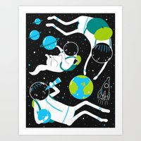 A Day Out In Space - Bla… Art Print