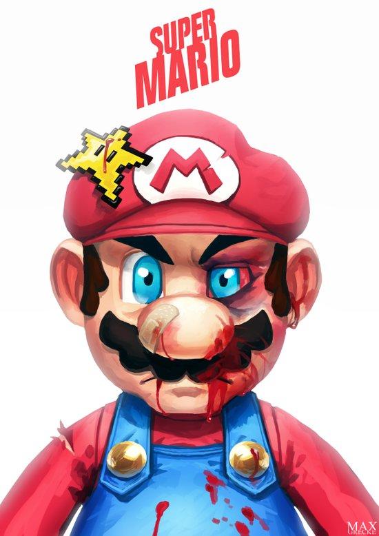 Beat Up Mario Art Print