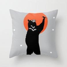 Big Bear and the Bird- Wearing Gas mask Throw Pillow
