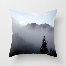 Fog covering Cradle Top Mountain  Throw Pillow