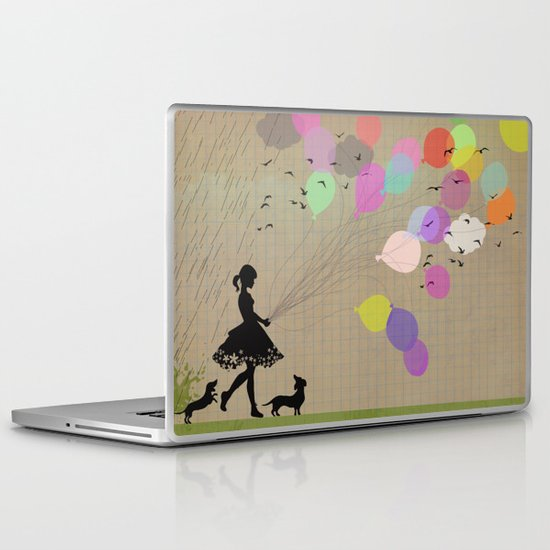 girl with balloons Laptop & iPad Skin