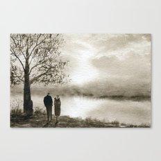 Waterside in Sepia Canvas Print