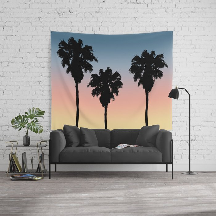 tropical beach sunset palm trees silhouette tapestry towel