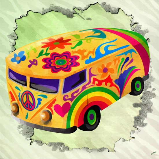 The Flower Power Mini Bus Art Print