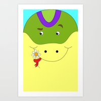Cute Snake In Love Child… Art Print