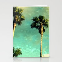 Palm Trees Heart Bokeh Stationery Cards