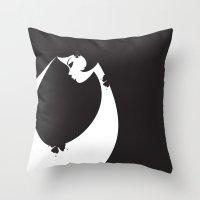Girl in Black Throw Pillow