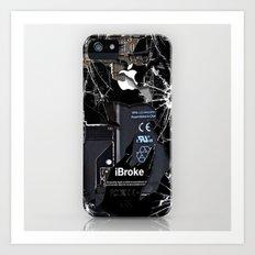 Broken, rupture, damaged, cracked black apple iPhone 4 5 5s 5c, ipad, pillow case and tshirt Art Print