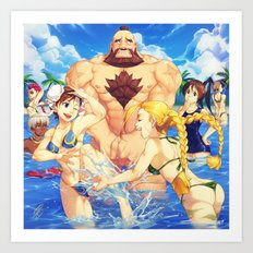 Beach Street Fighter Art Print