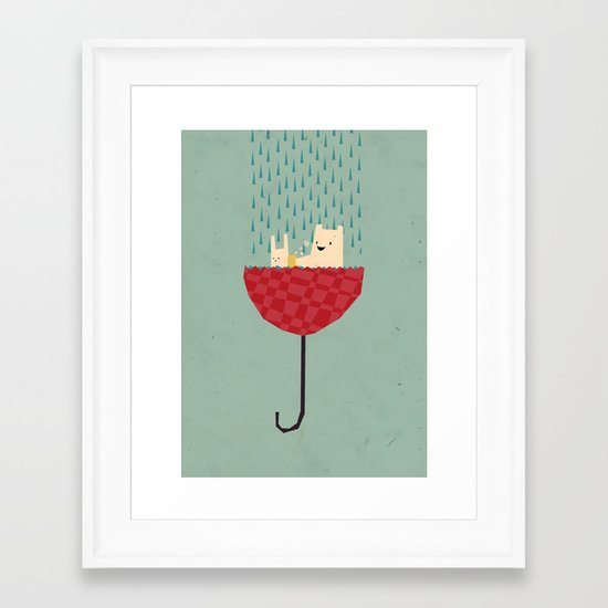umbrella bath time! Framed Art Print
