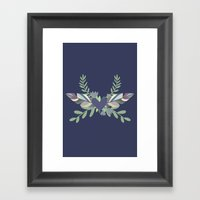 Hearts and Feathers Framed Art Print